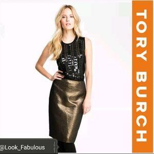 NWT TORY BURCH GOLD BRANDY SKIRT
